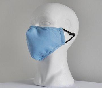 DispoDeals 2 laags wasbare mondmaskers van stof (lichtblauw) + 2 GRATIS FILTERS