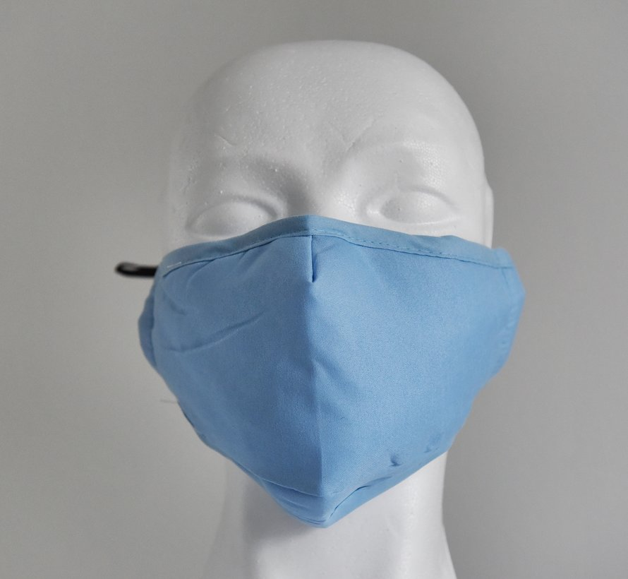 2 laags wasbare mondmaskers van stof (lichtblauw) + 2 GRATIS FILTERS