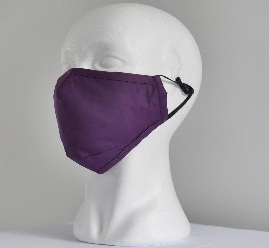 2 laags wasbare mondmaskers van stof (paars) + 2 GRATIS FILTERS