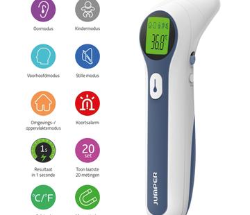 Jumper Jumper Koorts Thermometer (voorhoofd-, oor-, omgevingsmodus en oppervlaktemodus)