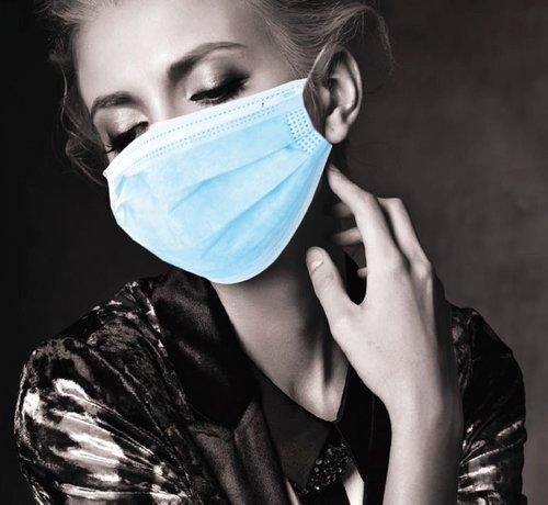Akzenta MEDISCHE IIR/2R mondmaskers met elastiek blauw 3 laags 20x50 stuks (vanaf € 4,45 per 50 stuks)
