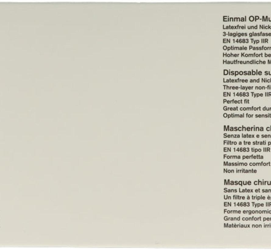 MEDISCHE IIR/2R mondmaskers met elastiek blauw 3 laags 20x50 stuks (vanaf € 4,45 per 50 stuks)