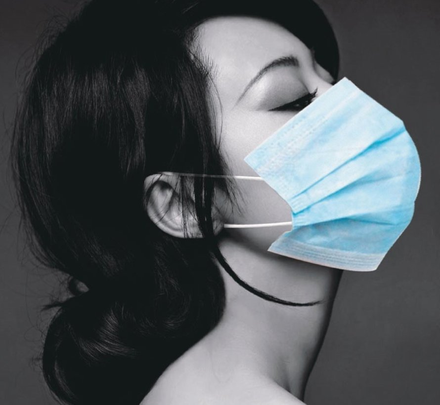 Mondmaskers met elastiek blauw 3 laags (50 stuks)