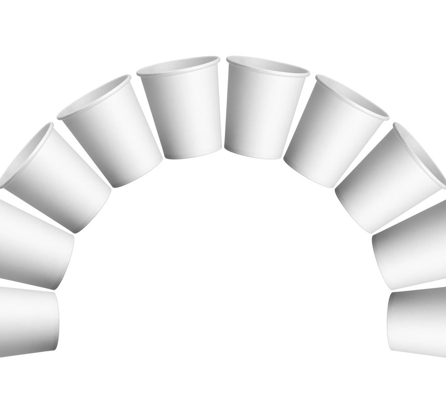 Witte kartonnen drinkbekers met een inhoud van 180 ml (100 stuks)