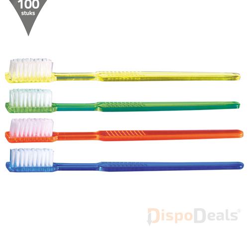 DispoDeals Wegwerp tandenborstels inclusief tandpasta, per stuk verpakt (100 stuks)