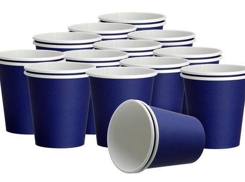 DispoDeals 2x 50 Blauw papieren feest bekertjes 180ml - Wegwerpbekertjes papier 180ml Blauw (100 stuks)