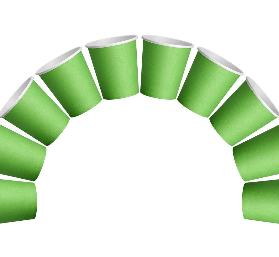 2x 50 Fris groen papieren feest bekertjes 180 ml - Wegwerpbekertjes groen 180 ml (100 stuks)