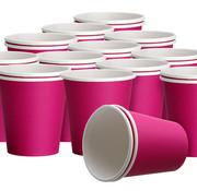 DispoDeals 2x 50 Fuchsia papieren feest bekertjes 180 ml - Wegwerpbekertjes papier 180ml Fuchsia (100 stuks)
