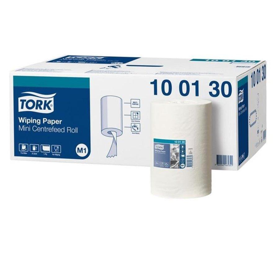 Tork 100130 M1 Wiping Mini Centerfeed poetspapier 21,5 cmx120 m rol - 1 laags (11 rollen)