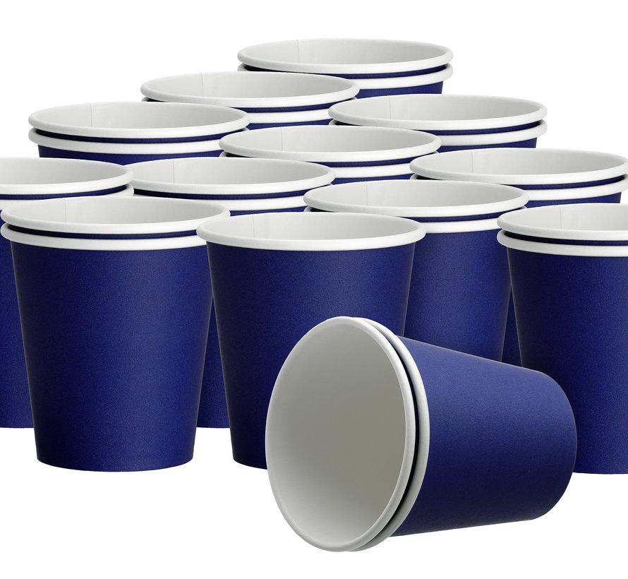 20x 50 Blauwe papieren feest bekertjes 180ml - Wegwerpbekertjes blauw 180ml (1000 stuks)