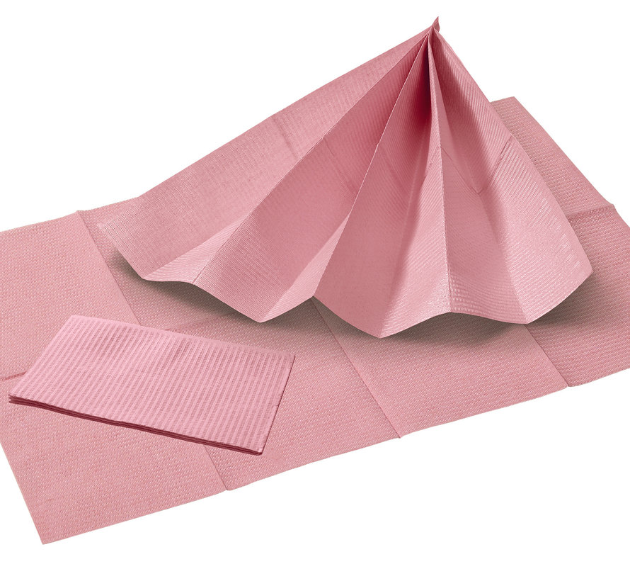 Dental Towels 33x45cm roze - 500 stuks(3-laags)