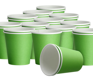 DispoDeals 20x 50 Fris groen papieren feest bekertjes 180 ml  - Wegwerpbekertjes groen van papier - (1000 stuks)