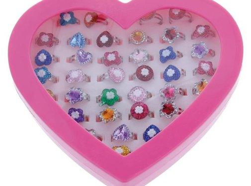 DispoDeals Speelgoedringen Glitter Hartvormig (36 stuks)