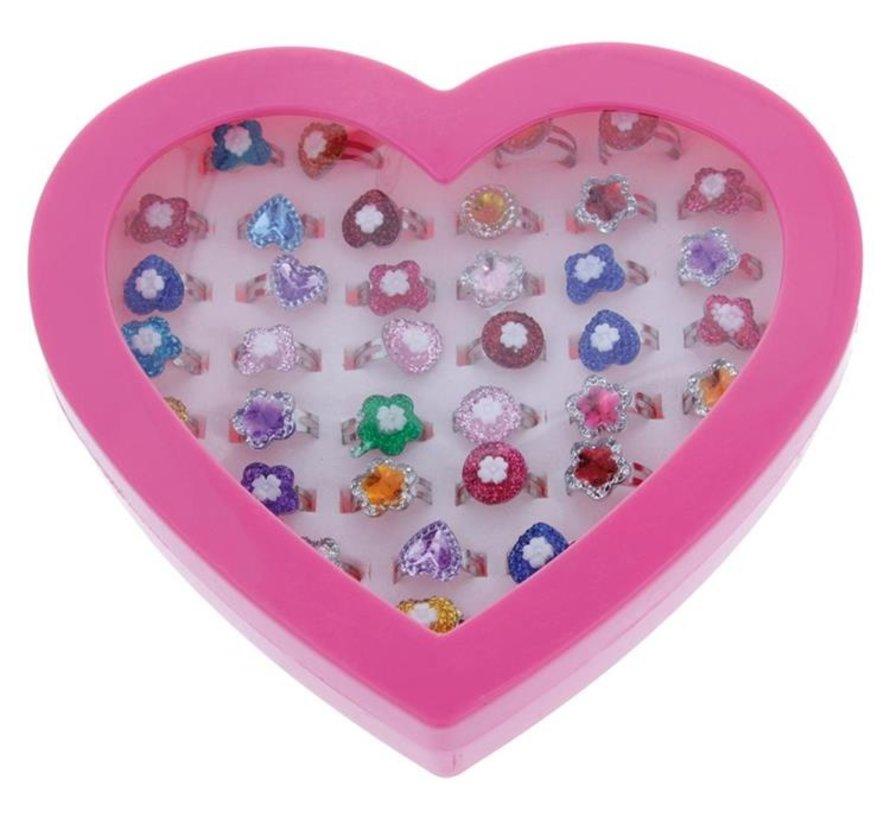 Speelgoedringen Glitter Hartvormig (36 stuks)