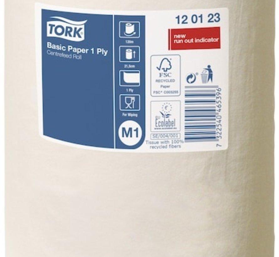 Tork 120123 M1 Basic Mini Centerfeed poetspapier 21,5 cmx120 m z-vouw - 1 laags (11 rollen)