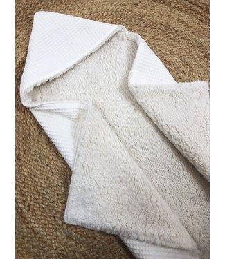 Wrap Blanket Ecru Waffle - Ecru Teddy