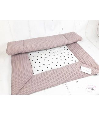 Playpen Mat Powderpink Large Waffle- Black Dots Center