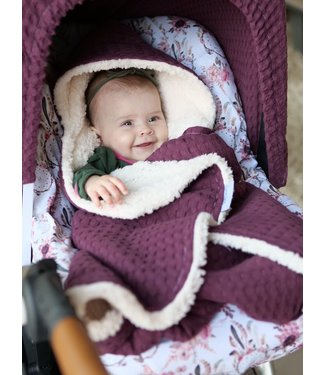 Maxi Cosi Blanket Purple Large Waffle & Ecru Teddy