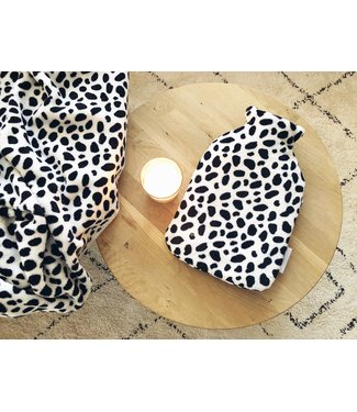 Hot Water Bottle Cover Black Dots Wellness