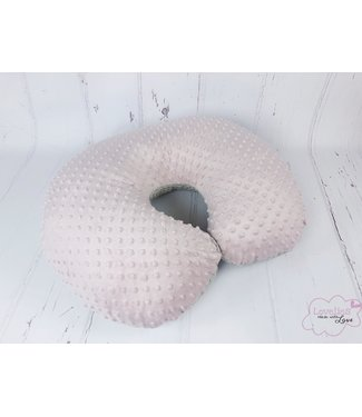 Nursing Pillow Cover Large Waffle Beige & Oldpink Minky