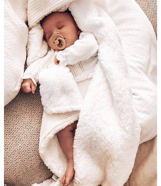 Wrap Blanket  Offwhite  Knit & White Teddy