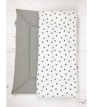 Playpen Mat Lightgrey Large Waffle-Black Dots
