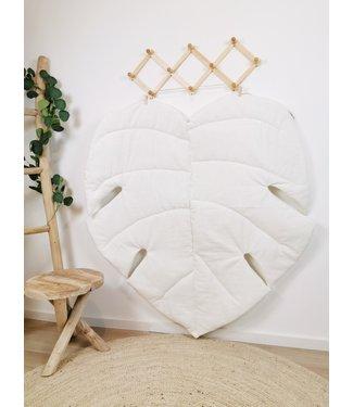 Xl Monstera Leaf Playmat - Offwhite Linen