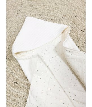 Wrap Blanket Offwhite Waffle & Gold Dots