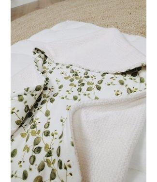 Wrap Blanket Offwhite Bebe & Green Leaves