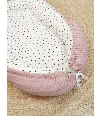 Babynest Puderrosa Grobe Waffel & Confetti Baumwolle