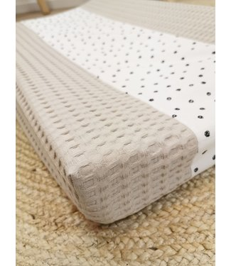 Changing Pad Cover Beige Large Waffle & Confetti