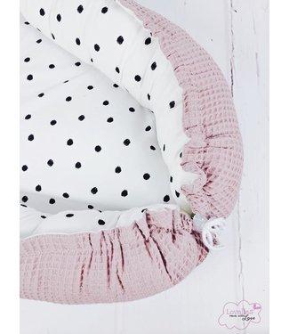 Babynest Puderrosa Waffel & Black Dots