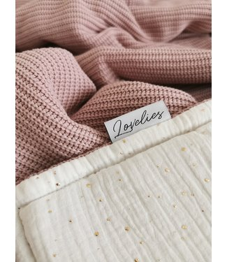 Blanket Gold Dots & Oldpink Knit