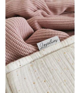 Deken Gold Dots & Oudroze Knit