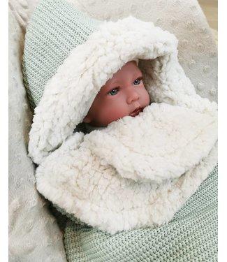 Maxi Cosi Blanket Powdergreen Knit & Ecru Teddy