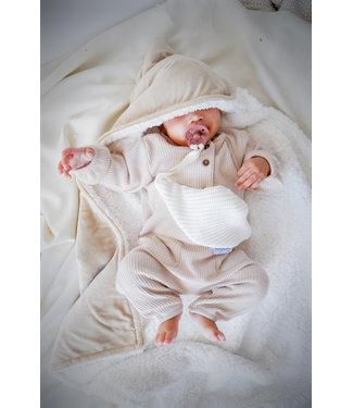 Wrap Blanket Beige Velvet & White Teddy