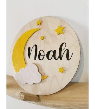 Houten Naambordje  Moon