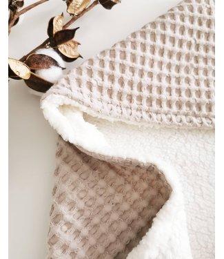 Wrap Blanket Beige Large Waffle & White Teddy
