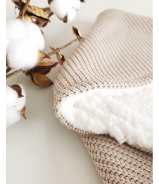 Wrap Blanket  Sand Knit & White Teddy