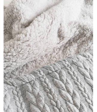 Blanket Lightgrey Cable & Lightgrey Teddy