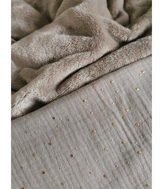 Deken Sand Brown Gold Dots & Sand  Brown Wellness Fleece