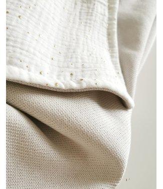 Blanket Light Knit Beige & Gold Dots
