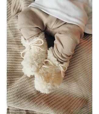 Teddy Baby Booties Ecru