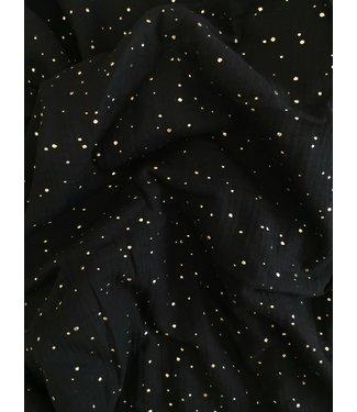 Hydrofieldoek/Swaddle Black & gold Dots
