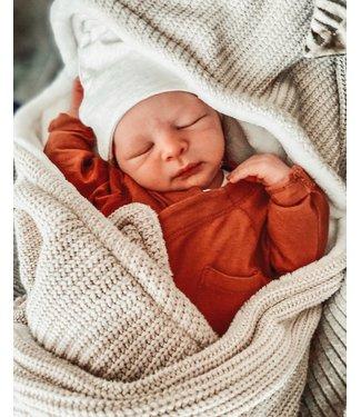 Wrap Blanket Sand Knit & White Wellness Fleece