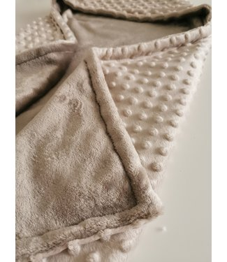 Wrap Blanket Ecru Minky & Brown Wellness Fleece