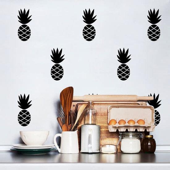 Pom Le Bonhomme Wandtattoo Ananas schwarz - Pöm Le Bonhomme - Set von 30 Aufkleber