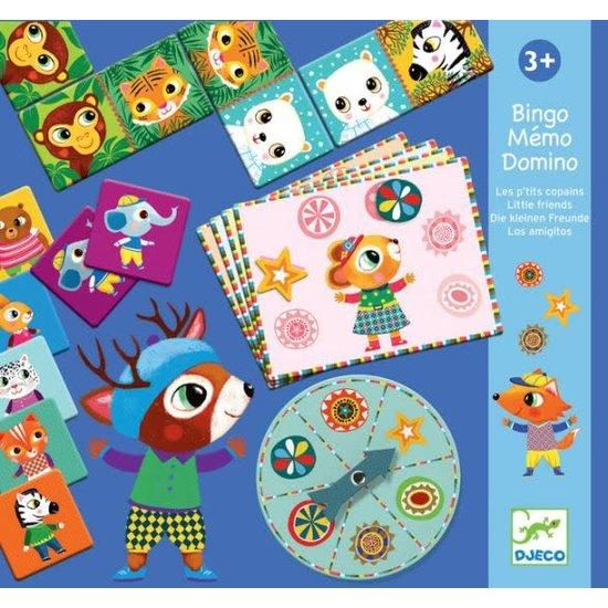 Djeco Te gek trio spel - bingo, memo en domino - Kleine vrienden - Djeco
