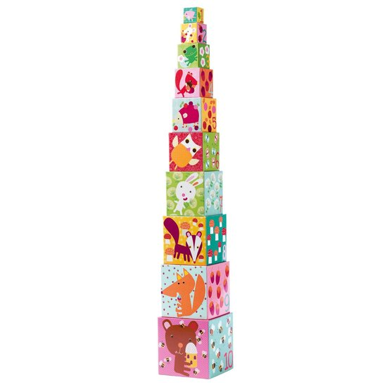 Djeco Colorful stacking cube tower - Forêt - Djeco