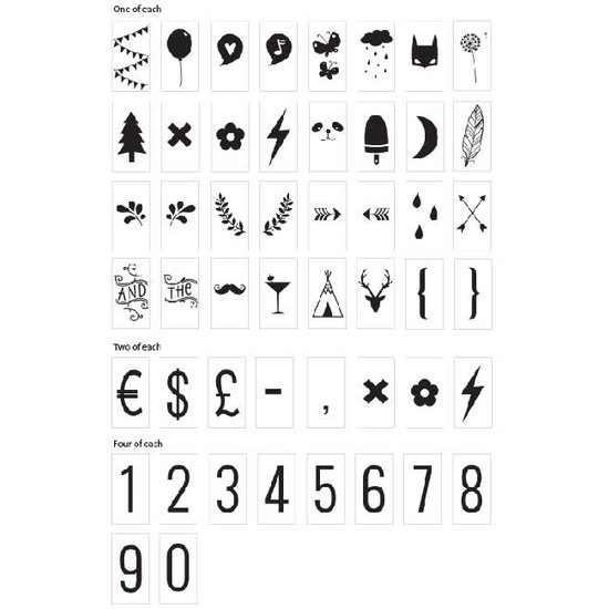 A Little Lovely Company Lightbox Symbols and numbers Set - A Little Lovely Company